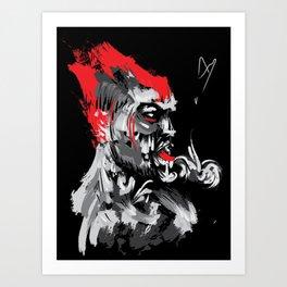 Smoke red demon with burning head Art Print
