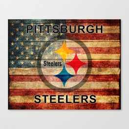 Steelers poster with vintage US flag in the background soc4 Canvas Print