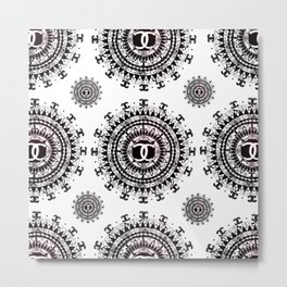 Fashion Icon Black and White Designer Mandala Textile Metal Print