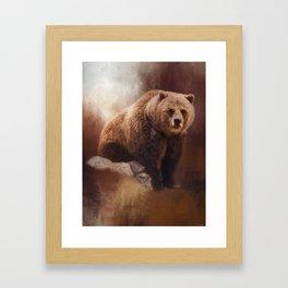 Great Strength - Grizzly Bear Art by Jordan Blackstone Framed Art Print