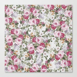Vintage rustic white wood blush pink floral Canvas Print
