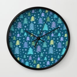 Winter Holidays Christmas Tree Green Forest Pattern Wall Clock