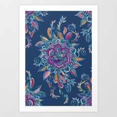 Deep Summer - Watercolor Floral Medallion Art Print