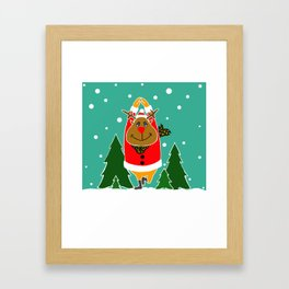 Christmas Deer Practicing Yoga Framed Art Print