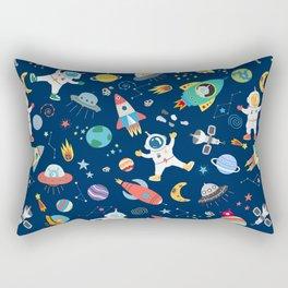 Outer Space Astronauts Aliens Pattern Blue Rectangular Pillow