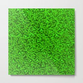 Retro Floral Lime Metal Print