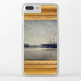 Vintage Santa Monica Pier framed Painting Clear iPhone Case