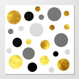 Gold, gray and black dote modern  background #society6 #decor #buyart #artprint Canvas Print