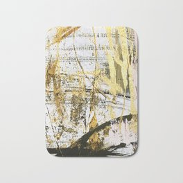 Armor [11]: a bold, elegant abstract mixed media piece in gold pink black and white Bath Mat