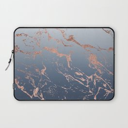 Modern grey navy blue ombre rose gold marble pattern Laptop Sleeve
