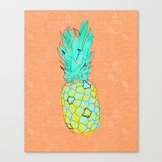 Neon Pineapple in Orange Canvas Print