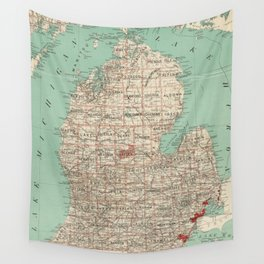 Vintage Map of Michigan (1888) Wall Tapestry