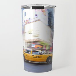 Yellow taxi cab in times square Travel Mug