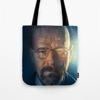 walter white Tote Bags featuring Walter White by turksworks