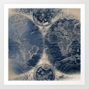 Antique World Map Gold Navy Blue Library by naturemagick