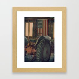 American Flag and Vintage Tractor in Iowa Barn Framed Art Print