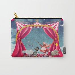 Illustration of cute circus  animals on stage in sky - illustration art  Carry-All Pouch