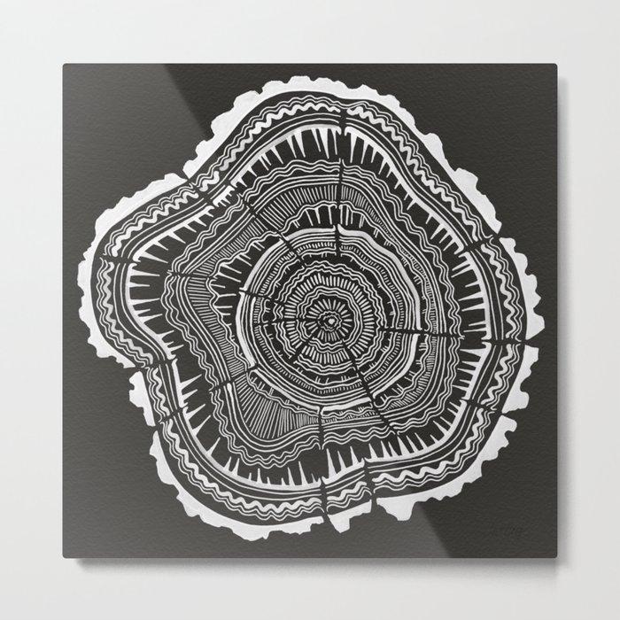 Growth Rings – 65 Years – Black Metal Print