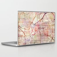 kansas city Laptop & iPad Skins featuring Kansas City by MapMapMaps.Watercolors