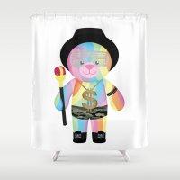 bondage Shower Curtains featuring Royal Hippie Rainbow Bondage Bear Full by YOSH FRIDAY