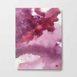 Blushing [5]: a minimal abstract watercolor and ink piece in shades of purple and red Metal Print