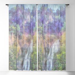 Mountain waterfall Sheer Curtain