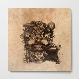 Vintage Steampunk Skull Brown Metal Gears Texture Metal Print