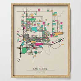 Colorful City Maps: Cheyenne, Wyoming Serving Tray