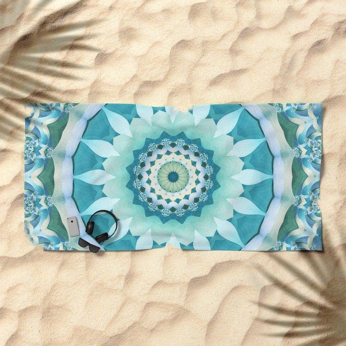 Aquamarine Mandala Beach Towel