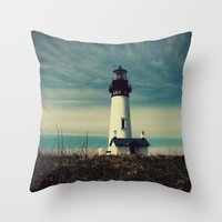 lighthouse Throw Pillows featuring Lighthouse by Yellowstone Photo Studio