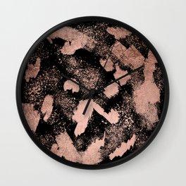 Modern rose gold foil brushstrokes paint abstract splatters black Wall Clock