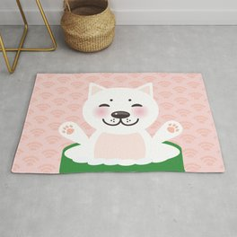 I love sushi. Kawaii funny sushi roll and white cute cat with pink cheeks, emoji. Pink background Rug