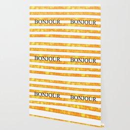 Bonjour Orange Stripe Bokeh Wallpaper