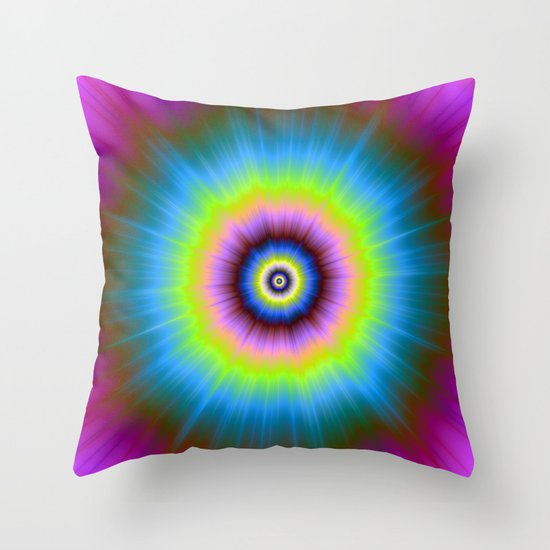 Tie-Dye in Blue Pink Yellow and Green Throw Pillow by Objowl Society6