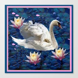 Swans & Peach Water Lilies Art Canvas Print