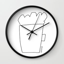 A Cup of Cappuccino and Lots of Love For You - coffee cafe latte illustration Wall Clock