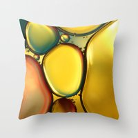 oil Throw Pillows featuring Oil & Water Abstract II by Sharon Johnstone