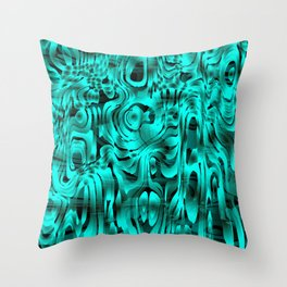 Bright smudges of magical infinity from light blue lines and dark hypnotic fixation. Throw Pillow