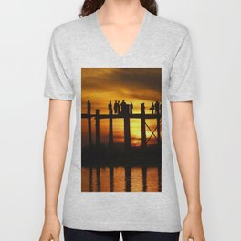 Sunset at U Bein Bridge, Myanmar Unisex V-Neck