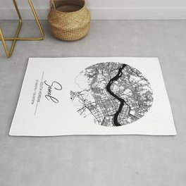 Seoul Area City Map, Seoul Circle City Maps Print, Seoul Black Water City Maps Rug