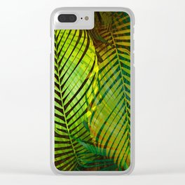 TROPICAL GREENERY LEAVES Clear iPhone Case