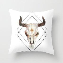 Geometric bull skull Throw Pillow