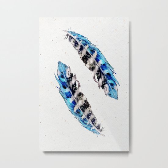 Two  blue feathers Metal Print