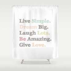 Inspiration Typography Quote Words Pastel  Shower Curtain