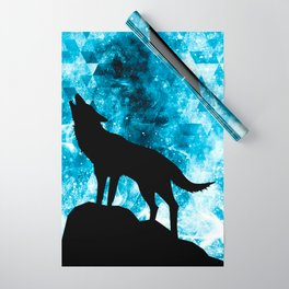Howling Winter Wolf snowy blue smoke Wrapping Paper