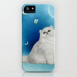 Cute chinchilla cat with butterflies iPhone Case