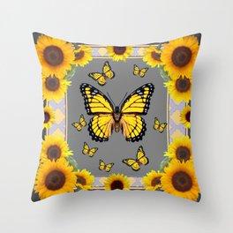 YELLOW MONARCH BUTTERFLIES SUNFLOWER ART Throw Pillow