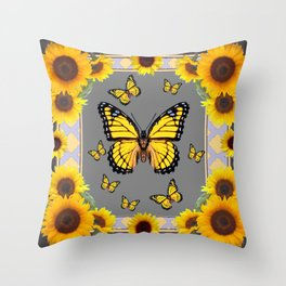 YELLOW MONARCH BUTTERFLIES SUNFLOWER ART Throw Pillow
