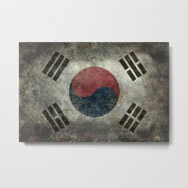 National flag of South Korea, officially the Republic of Korea, Vintage Desaturated version to scale Metal Print