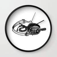 headphones Wall Clocks featuring Headphones by ToppArt